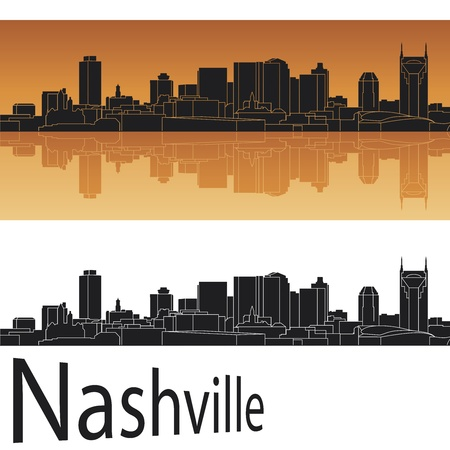 tennessee: Nashville skyline en fondo naranja