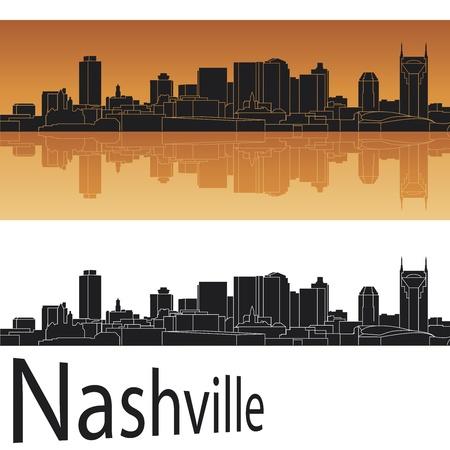 Nashville skyline in orange background Vector