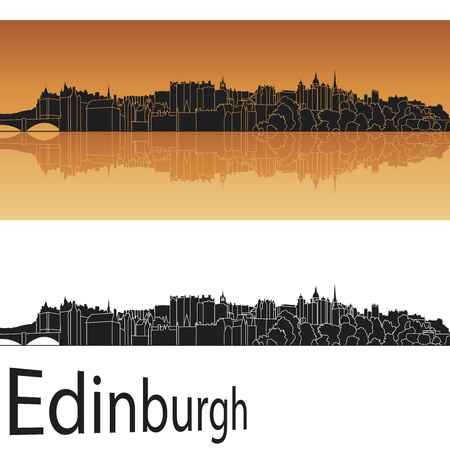 Edinburgh skyline in orange background