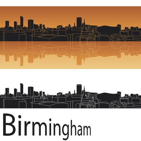 Birmingham skyline in orange background in editable vector file Vector
