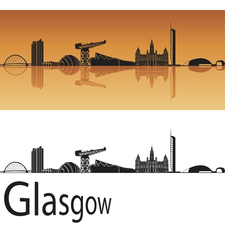 Glasgow skyline in orange background in editable vector file Vector
