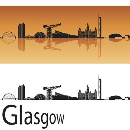 scotland: Glasgow skyline in orange background in editable vector file