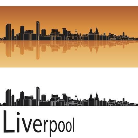 merseyside: Liverpool skyline in background arancione nel file vettoriale modificabile