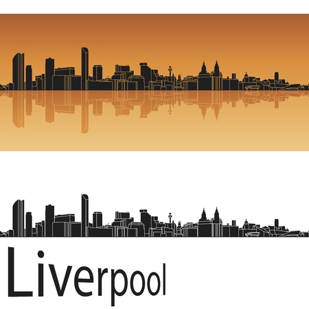 horizon reflection: Liverpool skyline in orange background in editable vector file