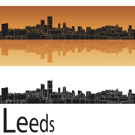 leeds: Leeds skyline in orange background in editable vector file