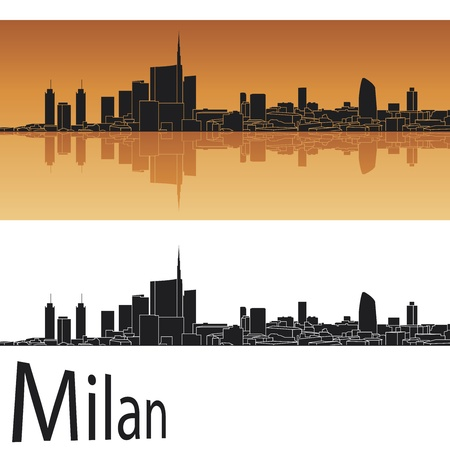 밀라노: 편집 가능한 벡터 파일에 오렌지 배경에서 밀라노의 스카이 라인