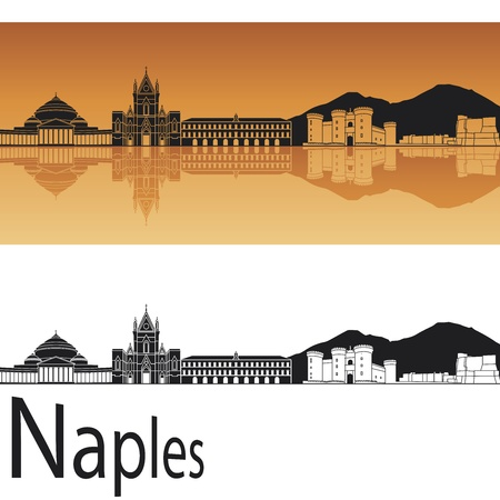 horizon reflection: Naples skyline in orange background in editable vector file