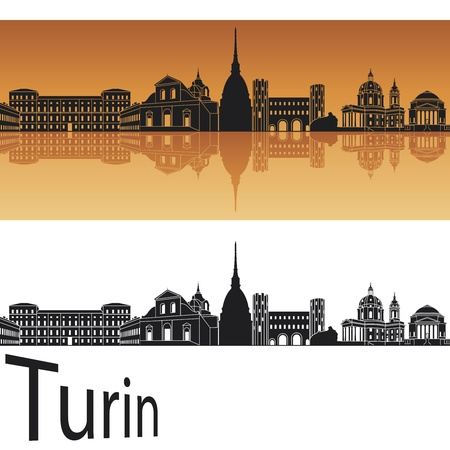 Turin skyline in orange background in editable Illustration
