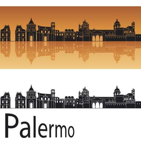palermo: Palermo skyline in orange background in editable vector file