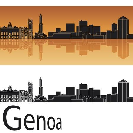 genoa: Genoa skyline in orange background in editable vector file