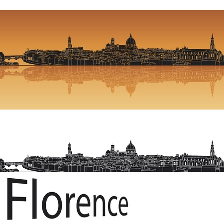 italy landscape: Florence skyline in orange background in editable vector file