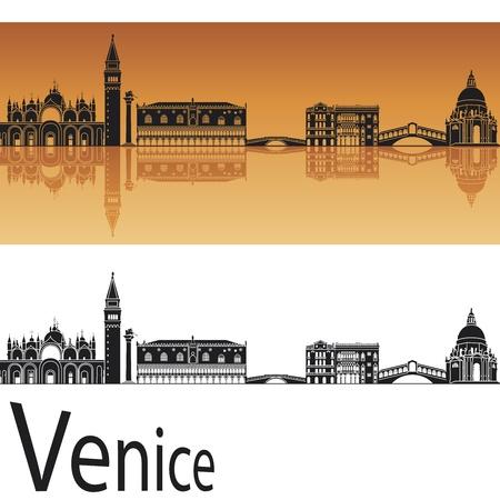 Venecia horizonte en fondo naranja en archivo vectorial editable