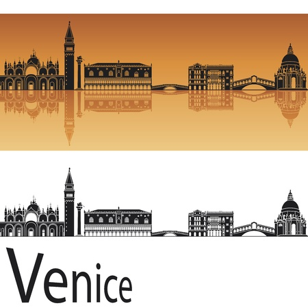horizon reflection: Venice skyline in orange background in editable vector file