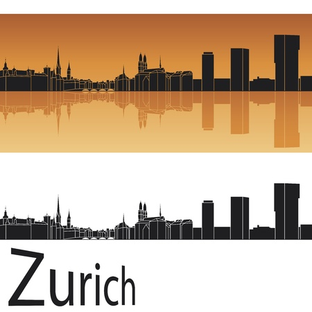 switzerland: Zurich skyline in orange background in editable  file