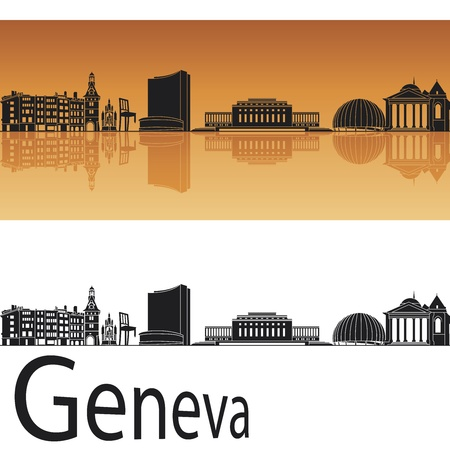 Geneva skyline in orange background in editable  file Vector