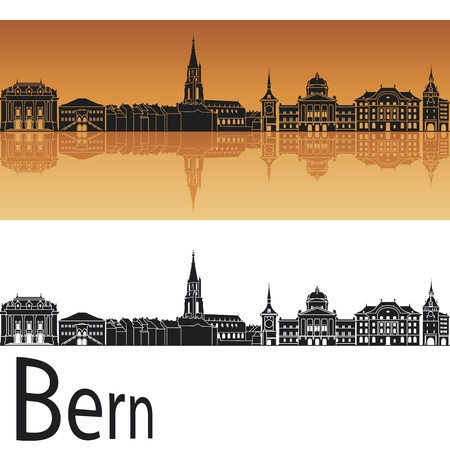 switzerland: Bern skyline in orange background in editable
