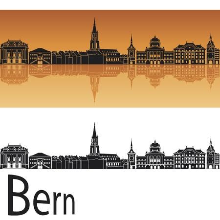 panoramic view: Bern skyline in orange background in editable