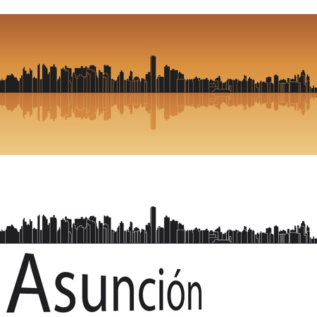 southamerica: Asuncion skyline in orange background in editable  Illustration