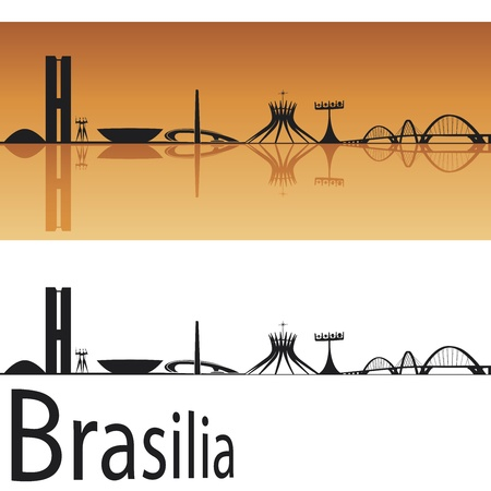 Brasilia skyline in orange background in editable vector file Vector