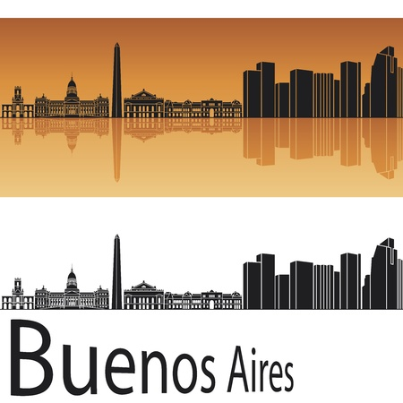 argentina: Buenos Aires skyline in orange background in editable vector file