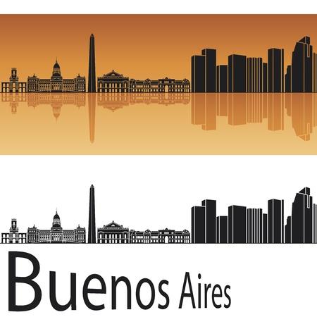 buenos aires: Buenos Aires Skyline in orange Hintergrund in editierbare Vektor-Datei