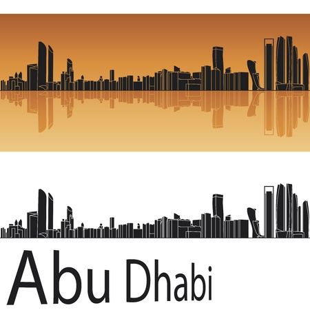 Abu Dhabi horizonte en fondo naranja en archivo editable