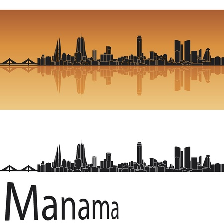 Manama skyline in orange background in editable vector file Illustration