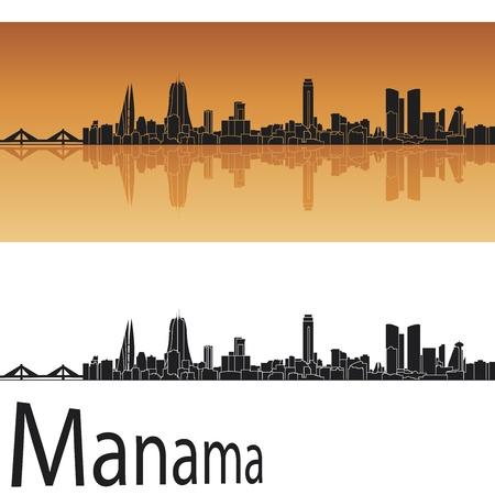 bahrain: Manama skyline in orange background in editable vector file Illustration