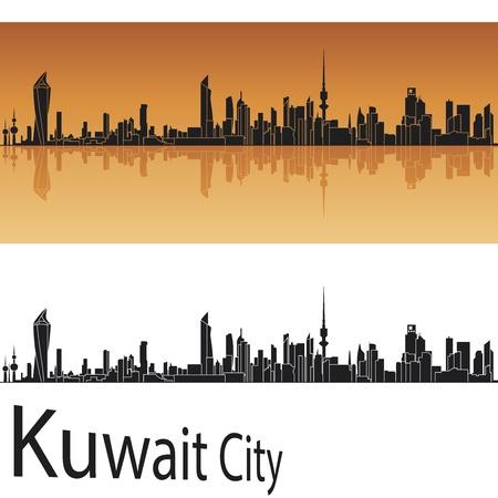 koweit: Kowe�t toits de la ville en arri�re-plan orange dans le fichier vectoriel �ditable Illustration