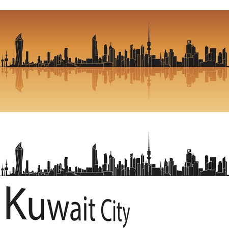 kuwait: Kuwait city skyline in orange background in editable vector file