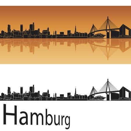 Hambourg horizon en fond orange