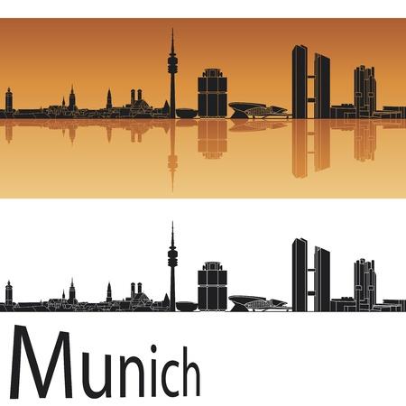 munich: Munich skyline in orange background