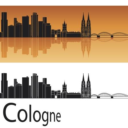 Cologne skyline in orange background in editable file