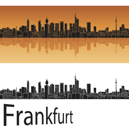 frankfurt: Frankfurt skyline in orange background in editable file