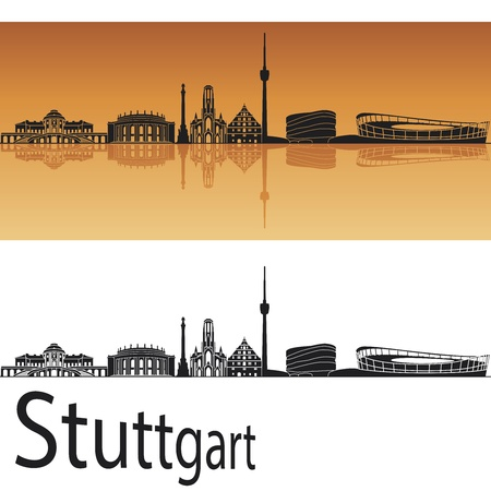 Stuttgart skyline in orange background in editable file Vector