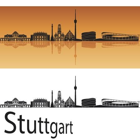 stuttgart: Stuttgart skyline in orange background in editable file