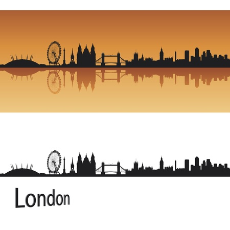 london skyline: London skyline in orange background