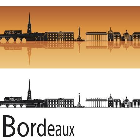 Bordeaux skyline in sfondo arancione in file modificabili