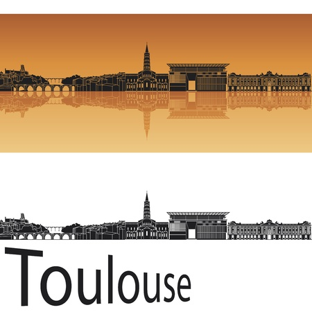 panoramic view: Toulouse skyline in orange background  Illustration