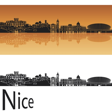 Nice skyline in orange background Vector