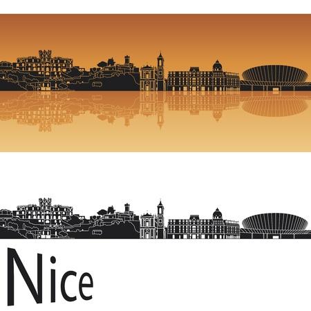 bella: Nizza skyline in sfondo arancione Vettoriali
