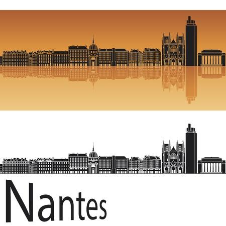Nantes skyline in orange background in editable
