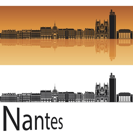 Nantes skyline in orange background in editable Stock Vector - 17595489