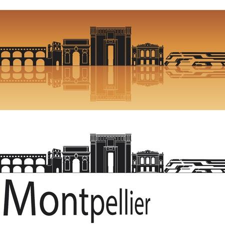 Montpellier skyline in orange background in editable vector file Stock Vector - 17595499