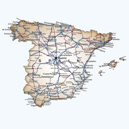 Wegenkaart van Spanje met de belangrijkste steden en steden, snelwegen en spoorlijnen in bewerkbare vector bestand Stock Illustratie