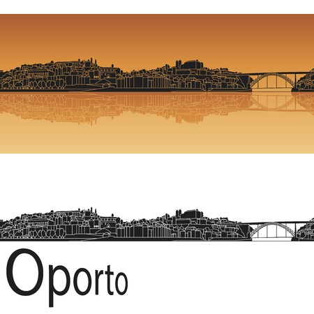 oporto: Oporto skyline in orange background in editable vector file