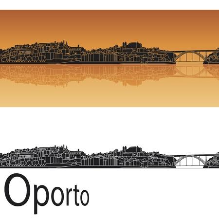 oporto: Oporto skyline in orange background in editable vector file