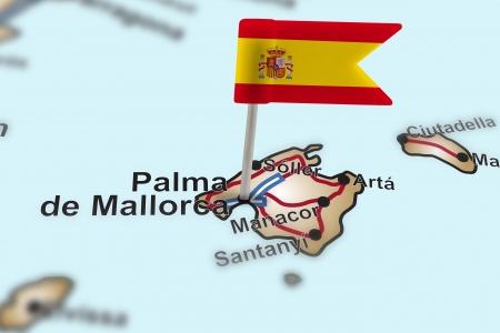 de focus: pin with flag of Spain in Palma de Mallorca with selective focus