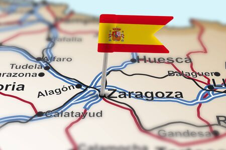 flag spain: pin with flag of Spain in Zaragoza with selective focus
