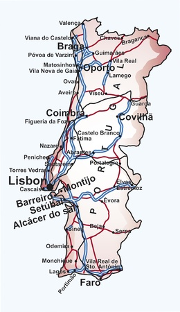 atlantic city: Road map of Portugal with the main cities and towns, highways and railway lines in editable vector file